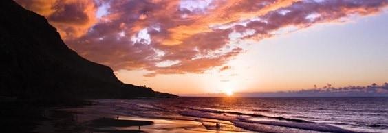 Atardecer en playa de Tenerife
