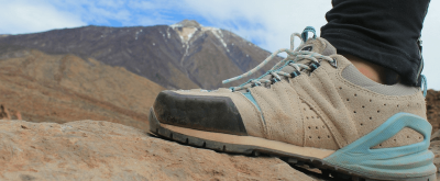 Hiking boot in front of Teide