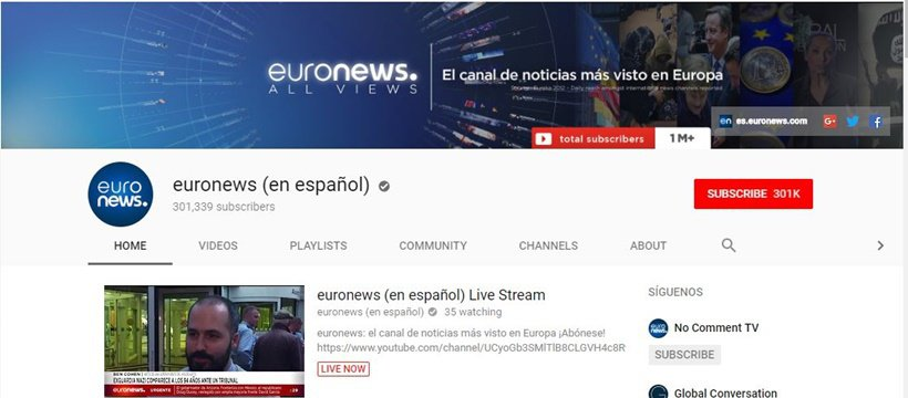 euronews YouTube channel