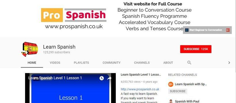 Learn Spanish YouTube channel