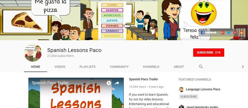 Spanish Lessons Paco Spanish YouTube channel